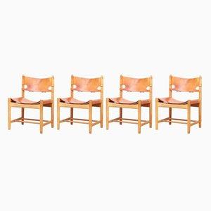 Modell 3237 Hunting Stühle von Borge Mogensen für Fredericia, 1960er, 4er Set