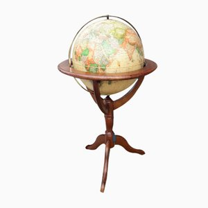 Illuminated Globe with Wooden Support, 1980s