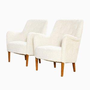 Sessel mit Kunstfell von Carl Malmsten, 1960er, 2er Set