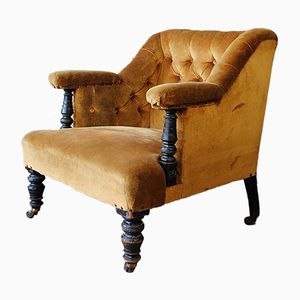 Antique French Velvet Armchair