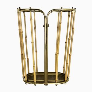 Hollywood Regency Brass and Bamboo Umbrella Stand, 1960s