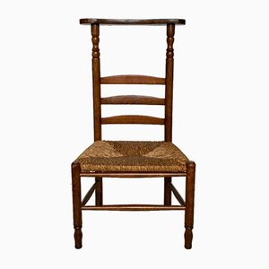 Antique Dutch Prayer Oak Chair with Wicker Seat, 1900s