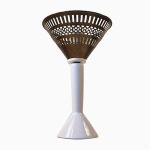 Lámpara de mesa danesa de porcelana y latón de Jo Hammerborg para Fog & Mørup, años 60