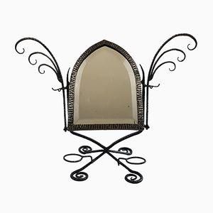 Espejo de mesa francés de hierro forjado, años 20