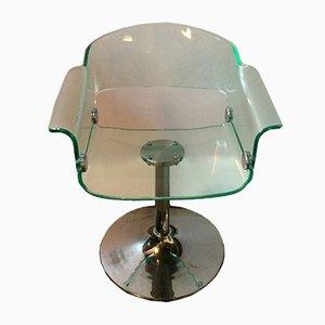 Chaise Pivotante Vintage en Plexiglas avec Base en Tulipe