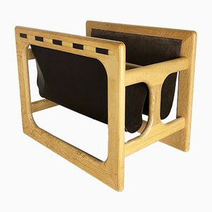Minimalistic Danish Oak Magazine Rack from Salin Mobler, 1970s