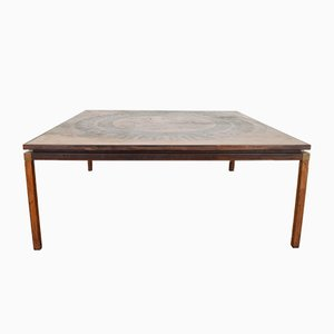 Vintage Danish Copper & Rosewood Coffee Table, 1970s