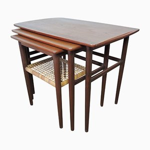 Mid-Century Danish Teak and Cane Nesting Tables, 1950s