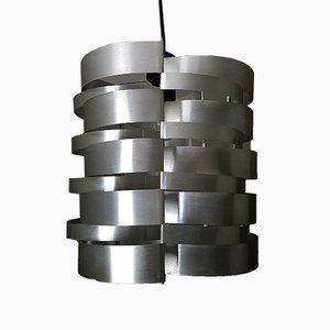 Französische Deckenlampe aus gebürstetem Aluminium von Max Sauze, 1970er