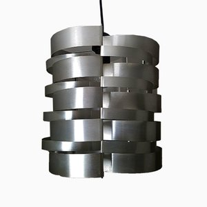 French Brushed Aluminum Ceiling Lamp by Max Sauze, 1970s