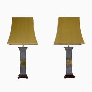 Lampade in metallo e ottone, anni '70, set di 2