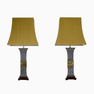 Metal and Brass Lamps, 1970s, Set of 2