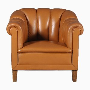 Italian Cognac Leather Club Chair, 1980s