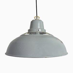 Lámpara colgante vintage industrial esmaltada en gris, años 50