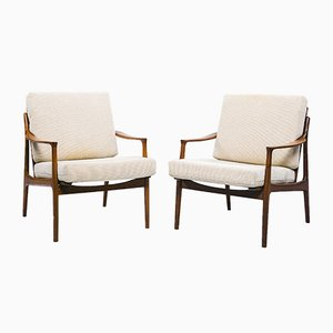 Danish Teak & Wool Lounge Chairs, 1950s, Set of 2