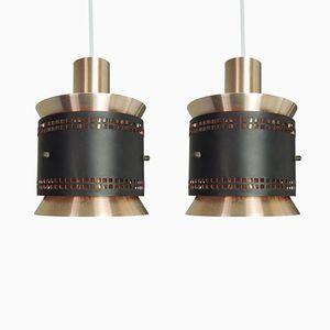 Lampe à Suspension Vintage en Cuivre et Noire, Danemark, 1960s, Set de 2