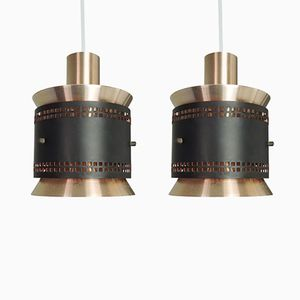 Vintage Danish Copper and Black Pendant Light, 1960s, Set of 2