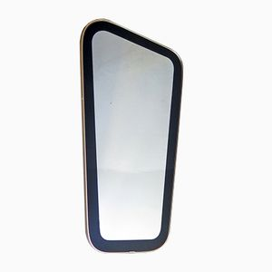 Organic Shaped Mirror with Black Frame and Golden Edge, 1960s