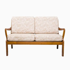 Danish 2-Seater White Sofa from L. Olsen & Son, 1960s
