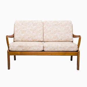 Sofá de dos plazas danés blanco de L. Olsen & Son, años 60