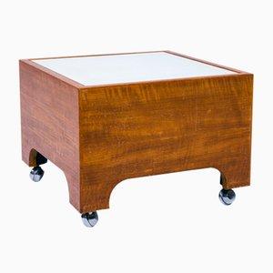 Table d'Appoint Vintage Side Table sur Roulettes en Teck