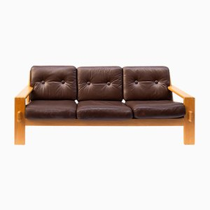 Vintage Oak & Leather Bonanza Sofa by Esko Pajamies