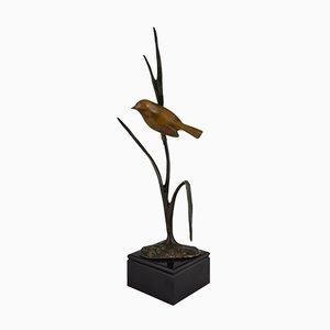 Escultura de pájaro en una rama vintage de bronce de Irenee Rochard, años 30