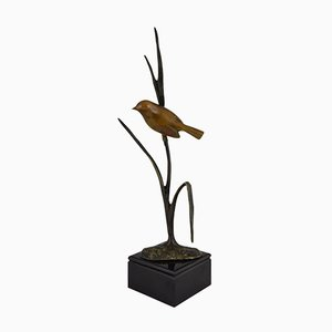 Vintage Bronze Bird on a Branch Sculpture by Irenee Rochard, 1930s