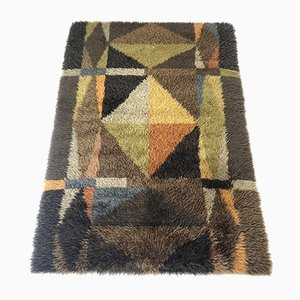 Vintage High-Pile Abstract Rya Rug, 1960s