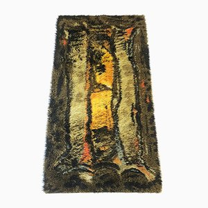 Vintage Scandinavian Abstract High-Pile Rya Rug, 1960s