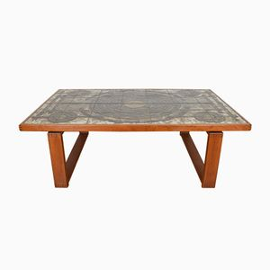 Danish Teak & Ceramic Tile Coffee Table by Ox-Art for Trioh, 1973