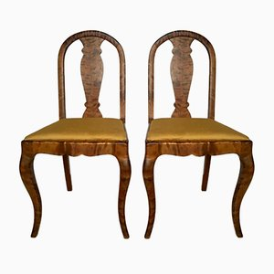 Antique Swedish Satin & Birch Chairs, Set of 2