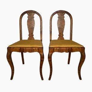 Chaises Antique en Satin & Bouleau, Suède, Set de 2