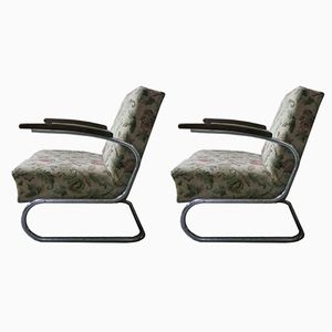 Vintage Model S 411 Cantilever Armchairs by Willem Hendrik Gispen for Mücke Melder, Set of 2