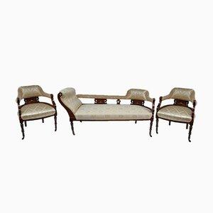 Antikes Tagesbett und 2 Sessel