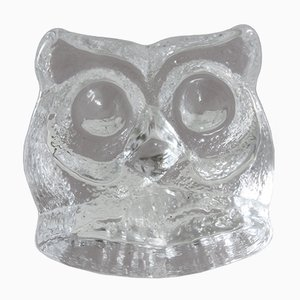 Vintage 3716 Glass Owl Paperweight by Lars Hellsten for Skruf Sweden