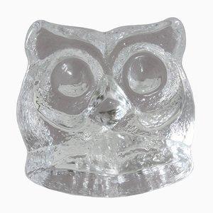 Vintage 3716 Glass Owl Paperweight by Lars Hellsten for Skruf Sweden