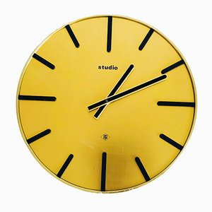 Industrial Brass Wall Clock from Telenorma, 1970s