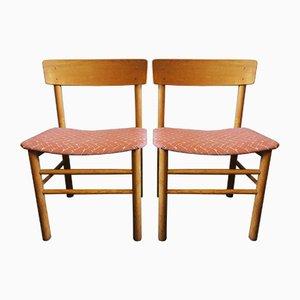 Vintage J39 Ulmenholzstühle von Børge Mogensen für Farstrup Møbler, 1950er, 2er Set