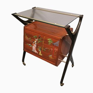 Vintage Italian Bar Cart with Cabinet, 1950s