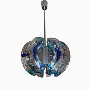 Lámpara de araña vintage azul de Mazzega, años 70