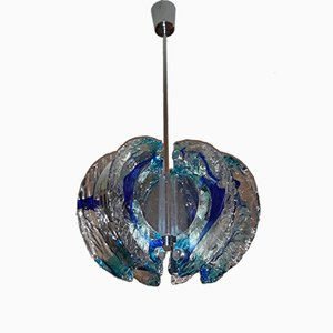 Vintage Blue Chandelier from Mazzega, 1970s