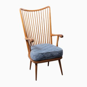 Danish Birch Wood Shaker Style High Back Armchair, 1950s