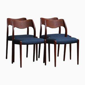 Chaises de Salle à Manger Modèle 71 Vintage par N.O. Moller pour J.L. Møllers, Danemark, 1950s, Set de 4