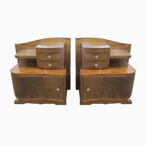 Art Deco Walnut Nightstands, 1930s, Set of 2