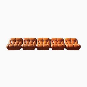 Modulares Mimo Sofa aus cognacfarbenem Leder von Rino Maturi für Nuvolone, 1970er