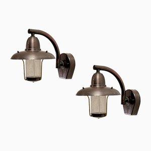 Lámparas de pared de exterior de cobre de Westal, años 80. Juego de 2