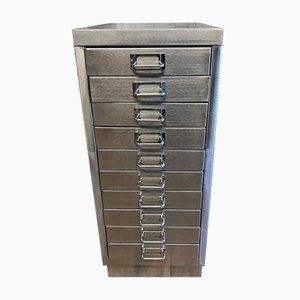 Industrieller Vintage Aktenschrank aus gebürstetem Metall mit 10 Schubladen