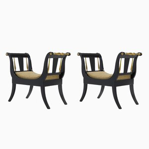 Vintage Ebonized & Gilded Window Seats, Set of 2