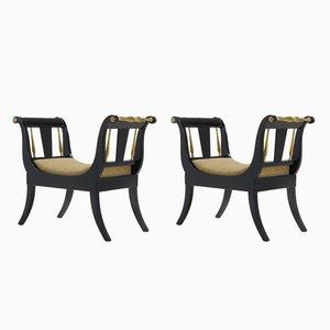 Vintage Ebonized & Gilded Window Seats, Set of 2